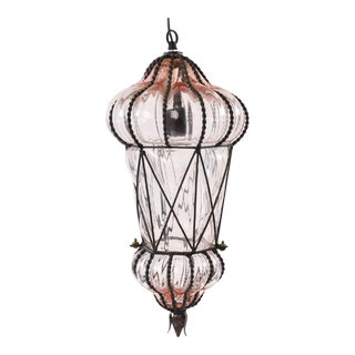"Seguso Murano ""Blush"" Caged Glass Pendant Light"