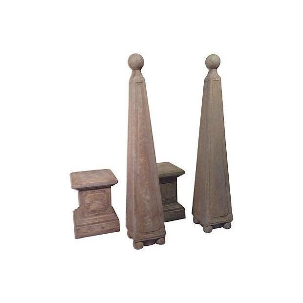 Vintage Custom Gray Concrete Obelisks - A Pair - Image 5 of 5