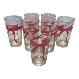 Set of 7 Vintage Pink Ribbon & Floral Pattern Glasses
