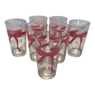 Set of 7 Vintage Pink Ribbon & Floral Pattern Glasses