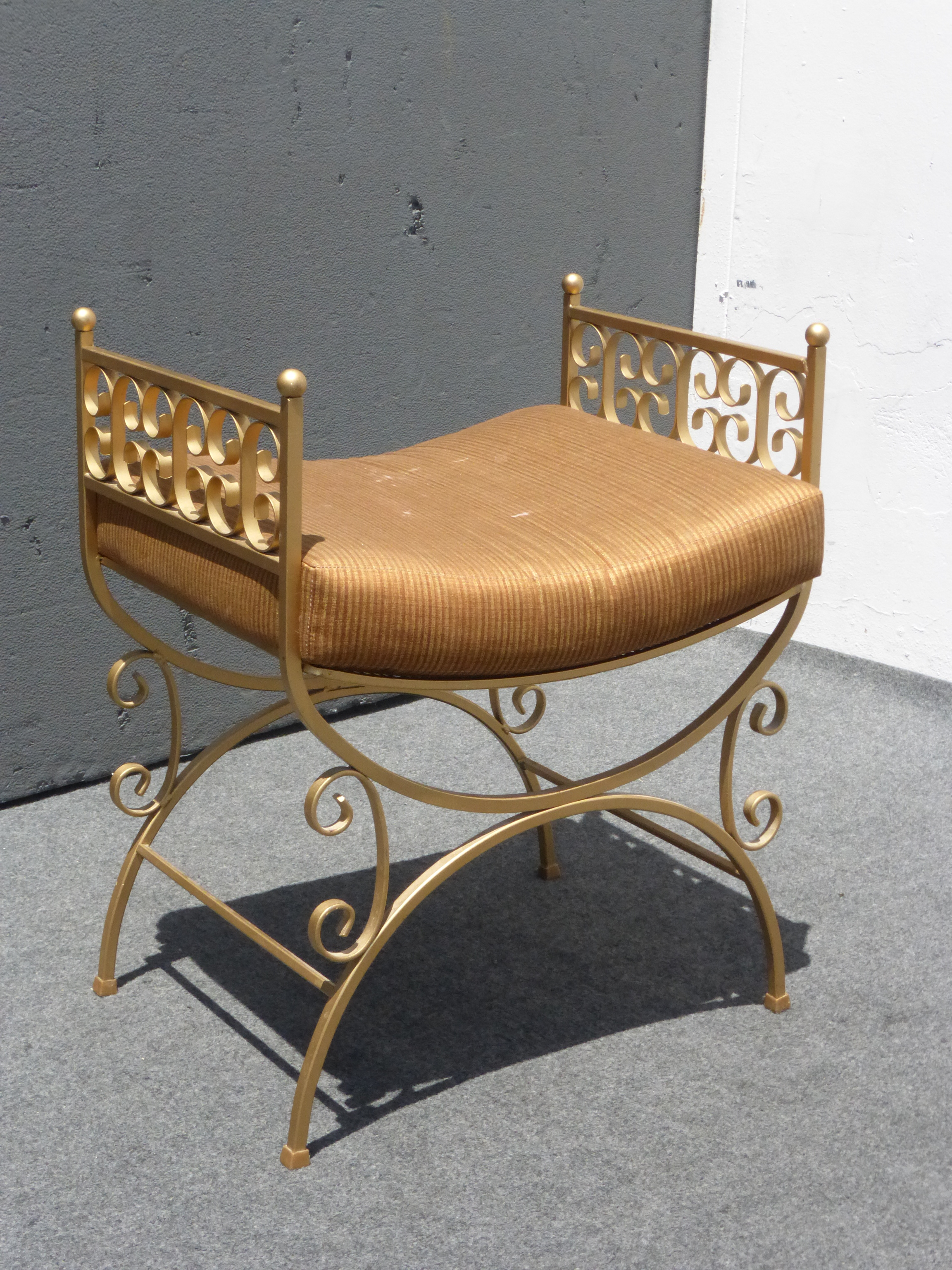 Vintage French Gold Metal Painted Vanity Bench   Image 2 Of 11