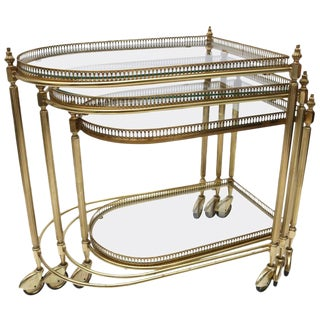 Set of Three Brass Nesting Tables in the Style of Maison Jansen, Italy, 1960s