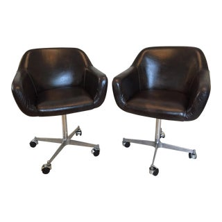 Mid-Century Leather Rolling Office Chairs - A Pair