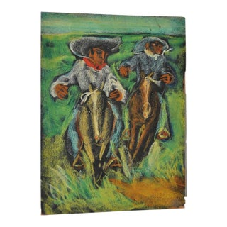 Carlos Lopez-Ruiz Colombian Cowboys Oil Painting c.1950