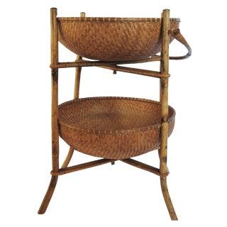 Vintage Asian Standing Basket