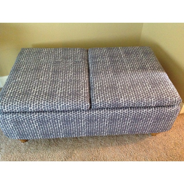Navy Ikat Storage Ottoman - Image 3 of 6