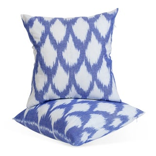 Indigo Silk Ikat Pillows - A Pair