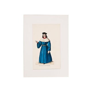 Hand-Tinted Costume Litho Blue