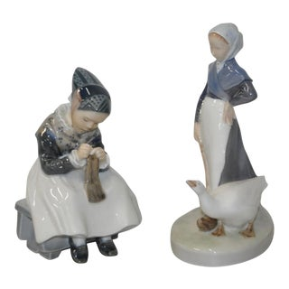 Circa 1960s Royal Copenhagen Porcelain Figurines - A Pair