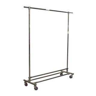 Steel Retail Clothing Rack With Purple Wheels