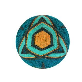 Temari Ball - Blue and Gold Geometric Ornament