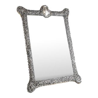 Circa 1903 Fine English Victorian Sterling Silver Leather & Wood Mounted Table Mirror