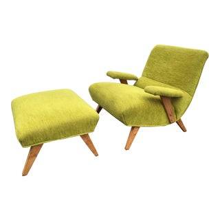 Mid-Century Heywood-Wakefield Chartreuse Green Lounge Chair and Ottoman
