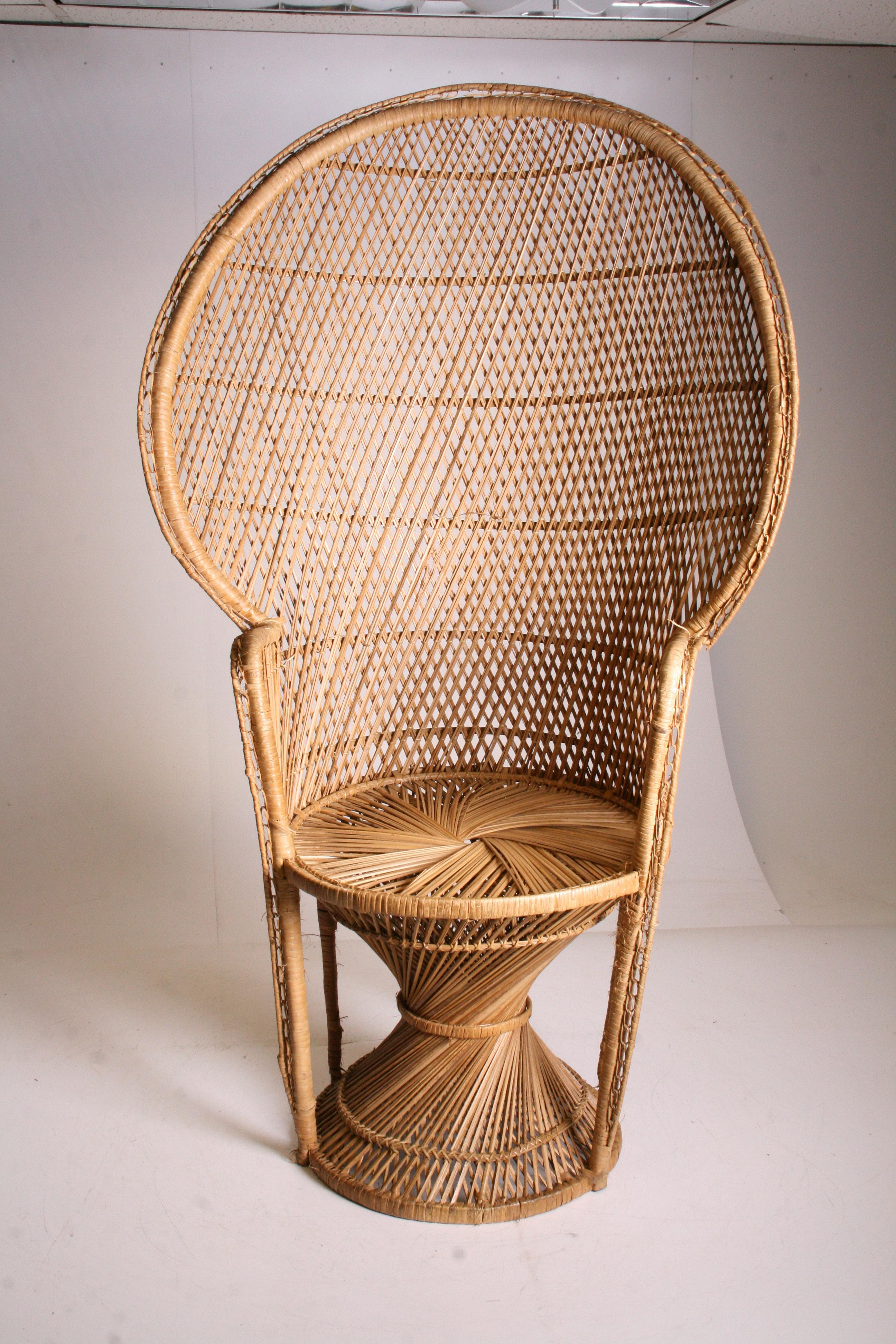 Vintage Boho Chic Wicker Peacock Chair   Image 2 Of 11