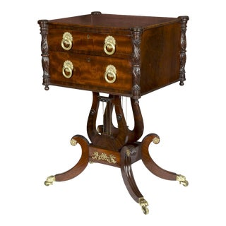 Classical Carved Mahogany Double Lyre Worktable