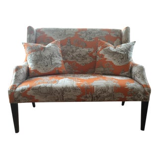 "Ballard Designs Toile Chinoiserie Upholstered ""Blair"" Wingback Sofa"