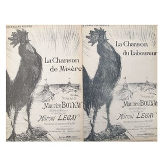 French Rooster Song Sheets Circa 1900 - A Pair