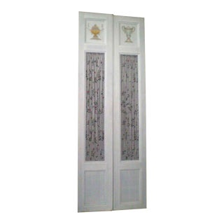 White Wooden Doors With Painted Motifs - A Pair