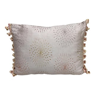 Embroidered Silk Tassel Fringe Pillow