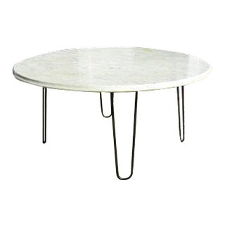Vintage Mid-Century Modern White Marble Cocktail Coffee Table With Bevel Edge