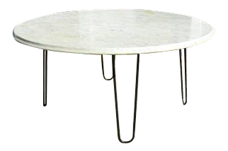 vintage midcentury modern white marble cocktail coffee table with bevel edge