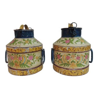 Vintage Large Indian Hand-Painted Metal Milk Jugs- A Pair