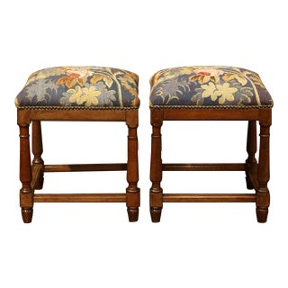 Mid-19th Century French Square Walnut Aubusson Tapestry Stools - A Pair