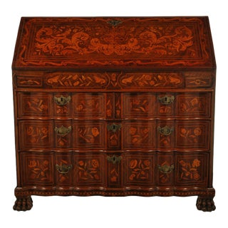 18th Century Dutch Marquetry Drop Front Secretary Desk