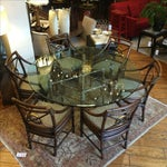 Image of McGuire Dining Table and Target Back Chairs - S/7