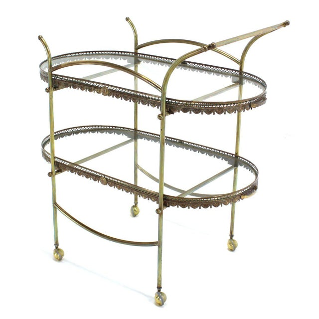Two-Tier Brass Serving Cart Table with Removable Trays - Image 9 of 10