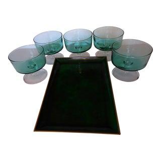 Lacquer Otagiri Malachite Tray with 5 French Pedestal Glasses - Set of 6