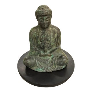 Vintage Bronze Buddha Head on Round Wooden Swivel Base