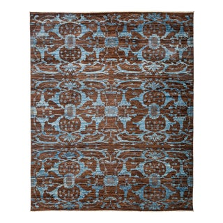 "Eclectic, Hand Knotted Transitional Blue & Blue Wool Area Rug - 8' 4"" X 10' 1"""