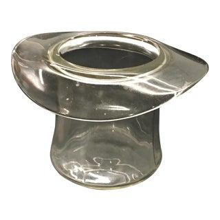 Vintage Blenko Clear Hand-Blown Glass Top Hat Vase