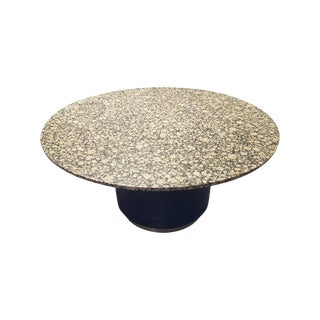 Round Granite Marble & Drum Base Dining Table