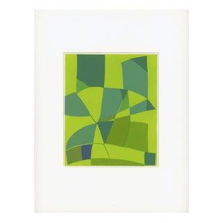 Pochoir Print - Geometric Shapes in Green