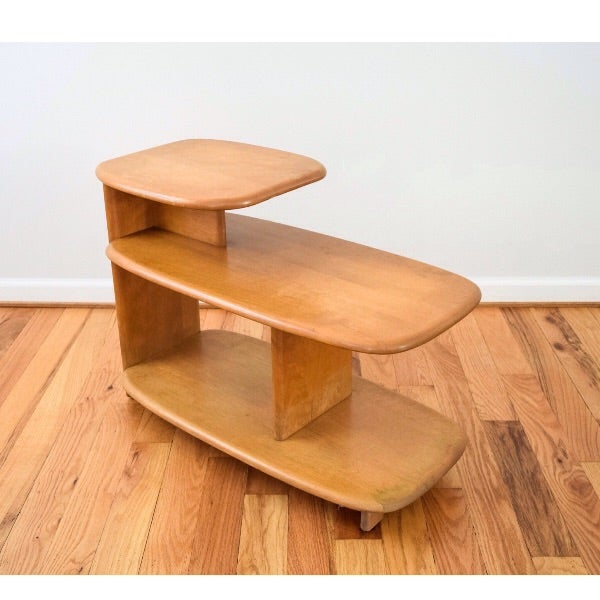 heywood wakefield mid century tiered end table corner end table s 2 chairish. Black Bedroom Furniture Sets. Home Design Ideas