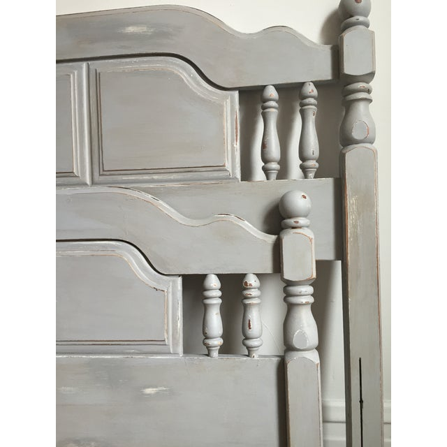 Image of Vintage Hand Painted Grey Twin Head/Footboards