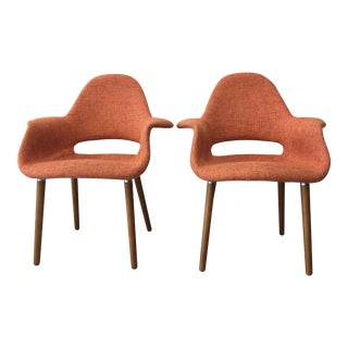 InStyle Wing Arm Orange Side Chairs - A Pair