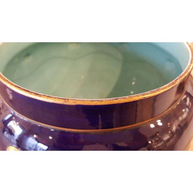 French Faience Cachepot with Gilt Detail - Image 3 of 7