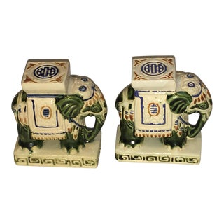 Chinoiserie Ceramic Elephant Bookends - A Pair