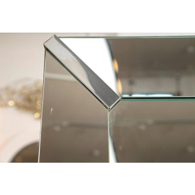 Image of Beveled Rectangular Stepped Mirror with Chrome Accents