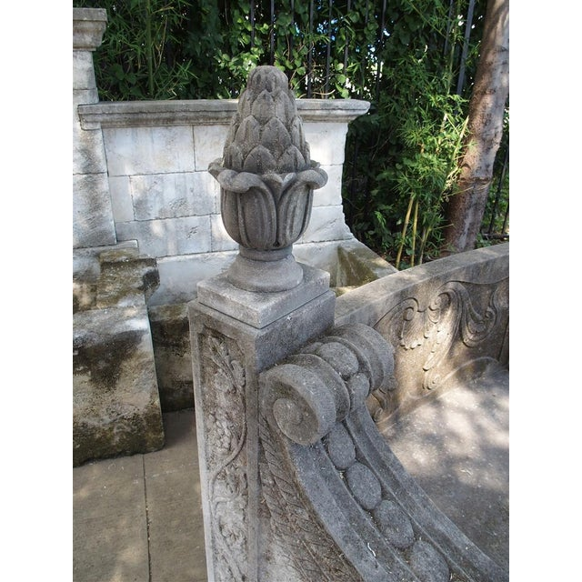A Large Semi Circular Carved Limestone Griffins Bench - Image 6 of 11