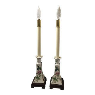 Asian Floral Candlestick Lamps - A Pair