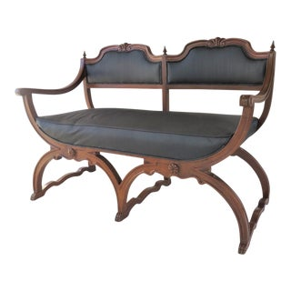 Regency X-Base Walnut Settee