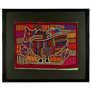 "Vintage Framed Panama Kuna Mola ""Goose"" Wall Art"
