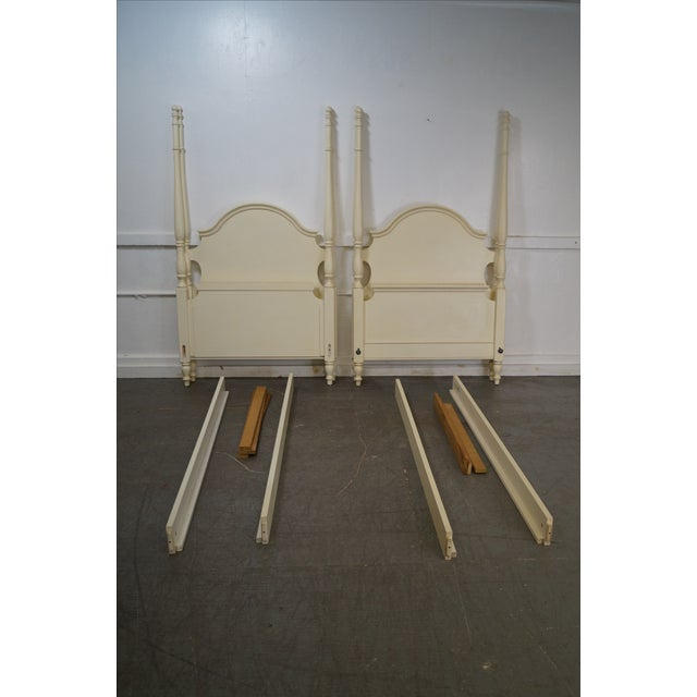 Image of Ethan Allen Painted Twin Poster Beds - Pair