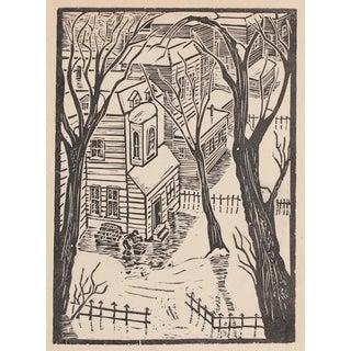 1940s Vintage Neighborhood Linoleum Block Print by Mary Watterick Evans