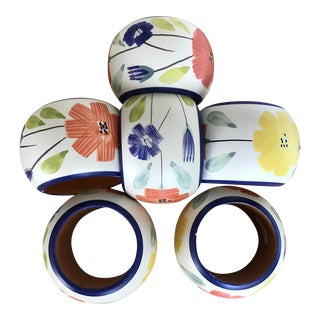 Hand Painted Napkin Rings - Set of 6