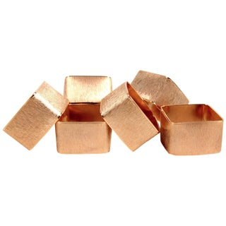 Brushed Gold Modernist Napkin Rings - Set of 6